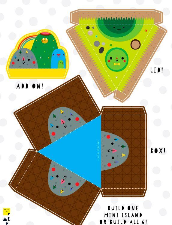 Шаблон №2 для объемной поделки из бумаги и картона -остров