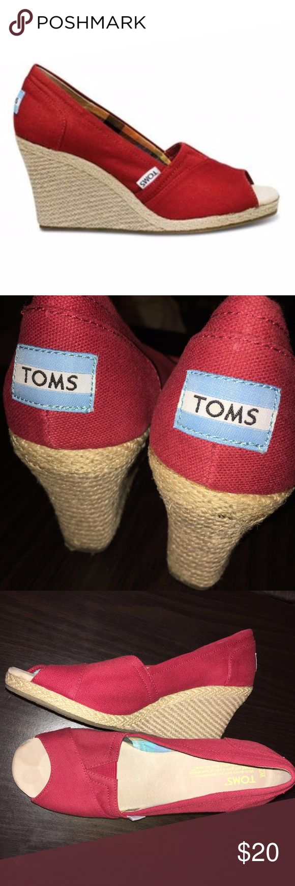 """TOMS Espadrilles Canvas Wedge Red canvas espadrille wedges with checkered plaid fabric interior, heel height 3 1/4"""". Like new, only flaw is that rubber sole on one shoe is slightly came apart as shown in picture. Comes with dust bag. Toms Shoes"""