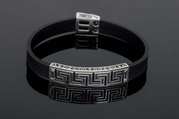 Handmade Sterling Silver925  Ancient Greek Style Bracelet with Meandros design by ExclusiveSilverArt on Etsy