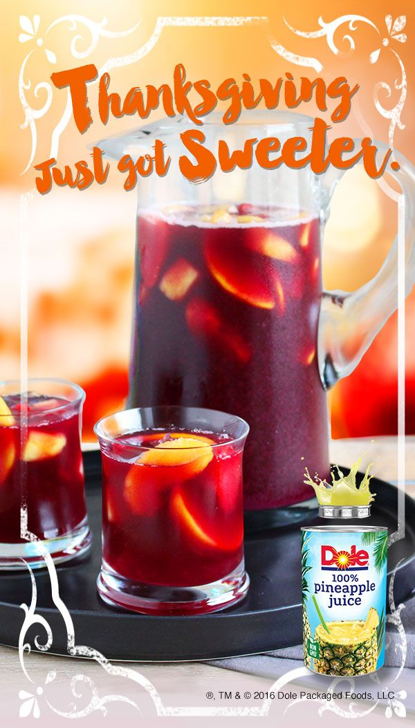 Give Thanksgiving a tropical twist with this HOLIDAY SANGRIA recipe made with DOLE® Canned 100% Pineapple Juice. #KINGofJUICES