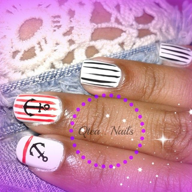 https://www.instagram.com/explore/tags/qteanails/ Navy nails, for those who love Summertime ;) #qteanails  #nailart