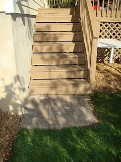 Patio pavers at bottom of deck stairs  Decorating  Home