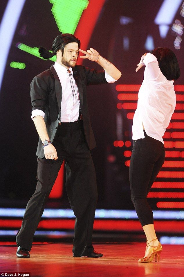 The winner returns:Whilst he disappointed his fans by not repeating his Pulp Fiction inspired jive at the final, reigning Strictly champion Jay McGuiness donned his John Travolta wig once again as he rehearsed