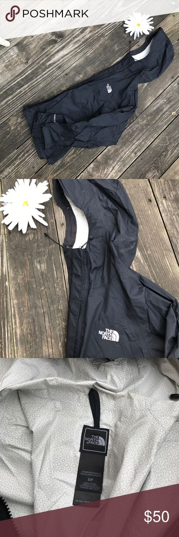 North Face black rain jacket Size small/petite, black, worn, North Face brand, rain jacket with good North Face Jackets & Coats Utility Jackets