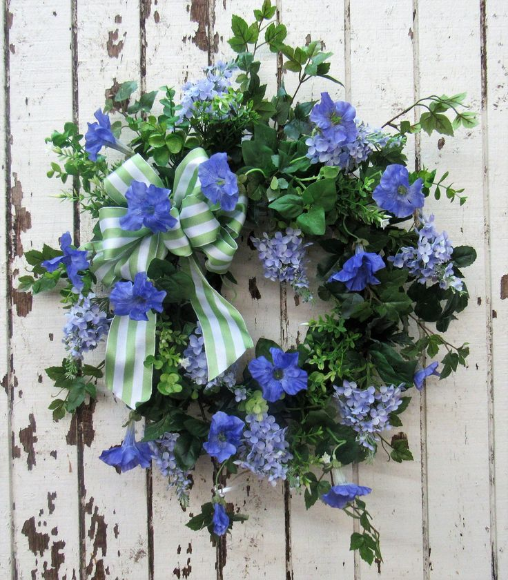 Spring Wreath with Lavender Lilac, Periwinkle Petunia, Green Eucalyptus and a Green and White Strip Bow/Eng110