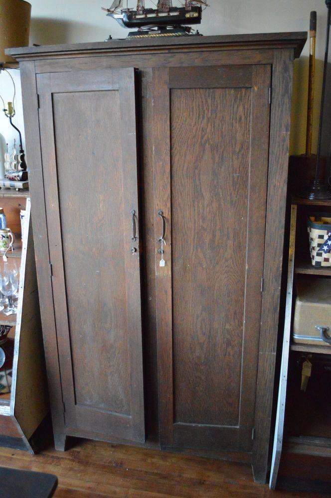 "Antique WARDROBE Armoire Wood 71"" Tall Rustic PRIMITIVE Hang Closet  bedroom"