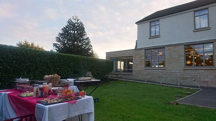 Here outside catering DOES mean outside catering. A company hired a large house in Derbyshire and asked us to provide a bespoke BBQ for the guests evening meal. See website for sample menus and prices. www.byrequest.co.uk.