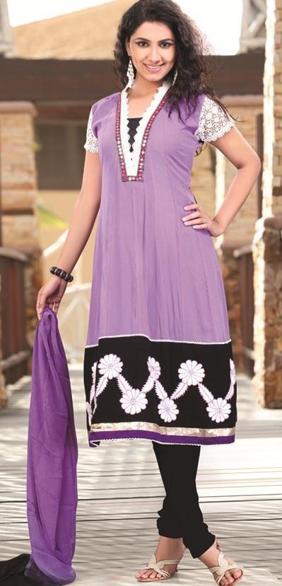 73.98 Purple Mirror Work and Embroidery Anarkali Salwar Kameez 22611