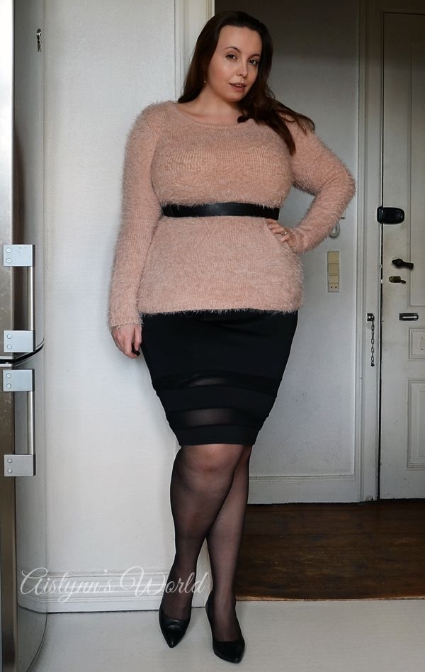 Chubby girls in skirts and heels