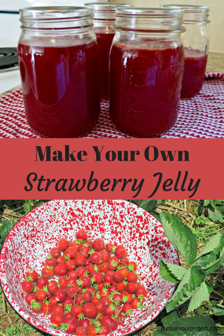 Instructions on making strawberry jelly that uses fresh berries and Sure Jell. Finish the jelly by water bath canning to preserve it. via @pursueproject