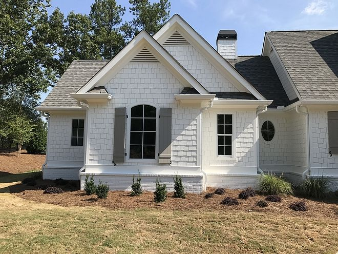 Shingle and brick are painted in Alabaster Sherwin