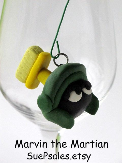 Marvin the Martian Polymer Clay Pendant - Looney Tunes Character - Funny - Green - Black - Yellow
