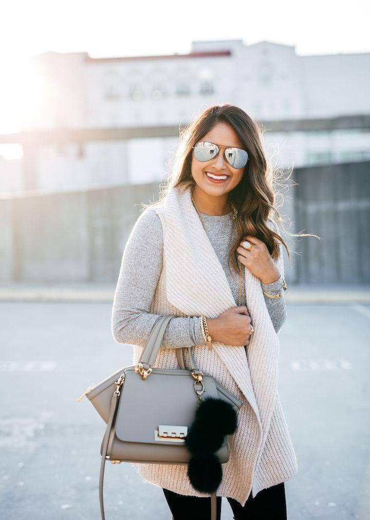 haute off the rack, sleeveless cardigan, sweater vest, cream vest, zac zac posen handbag, faux fur handbag charm, fashion blogger, fall style, street style, women's fashion, flash lens sunglasses,