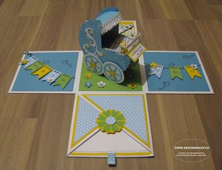 Geschenkbox Überraschungsbox Explosionsbox mit Kinderwagen Geburt Taufe Geldgeschenk Gutschein