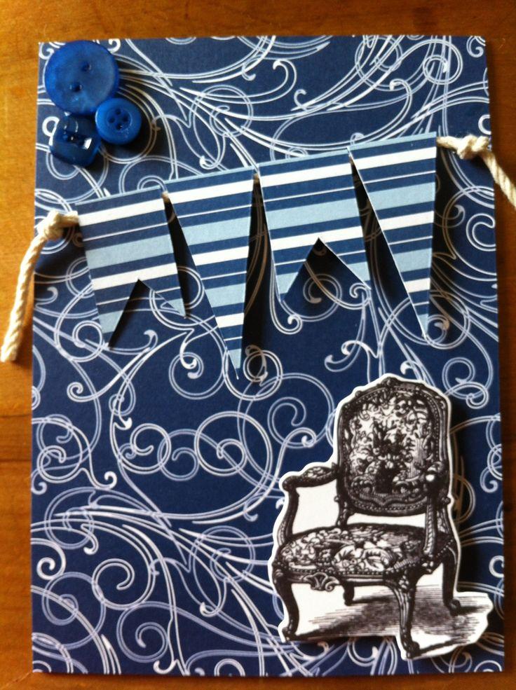 Blue bunting card