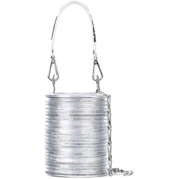 Paco Rabanne ridged bucket bag (€1.540) ❤ liked on Polyvore featuring bags, handbags, shoulder bags, grey, leather shoulder handbags, leather purses, grey shoulder bag, gray leather handbags and gray leather purse