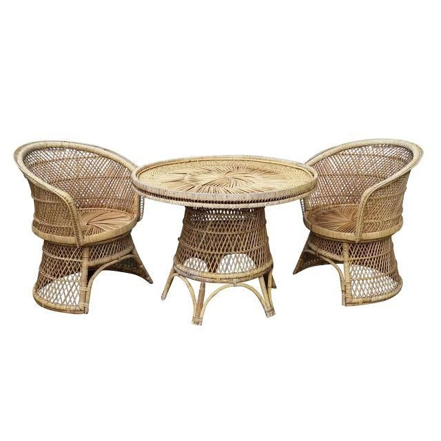 Image of Vintage Wicker Table and 2 Chairs