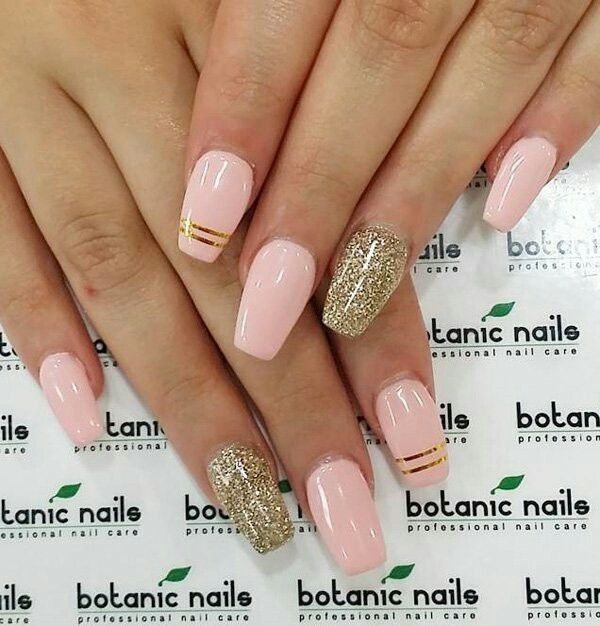 Coffin Style Nails with Gold Glitter