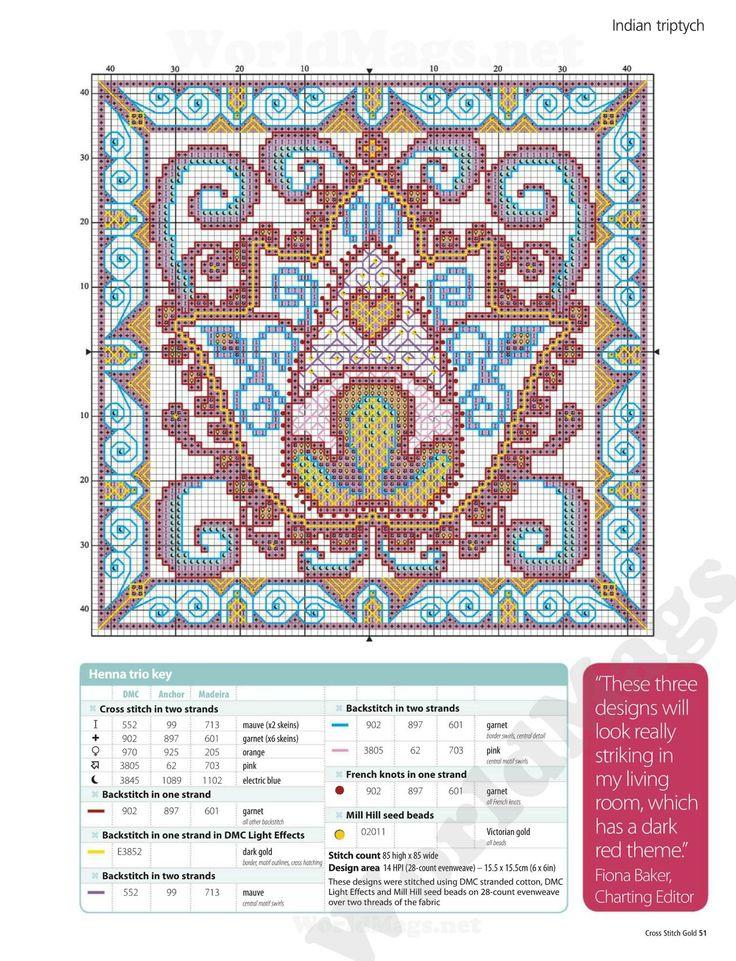 Henna trio key cross stitch