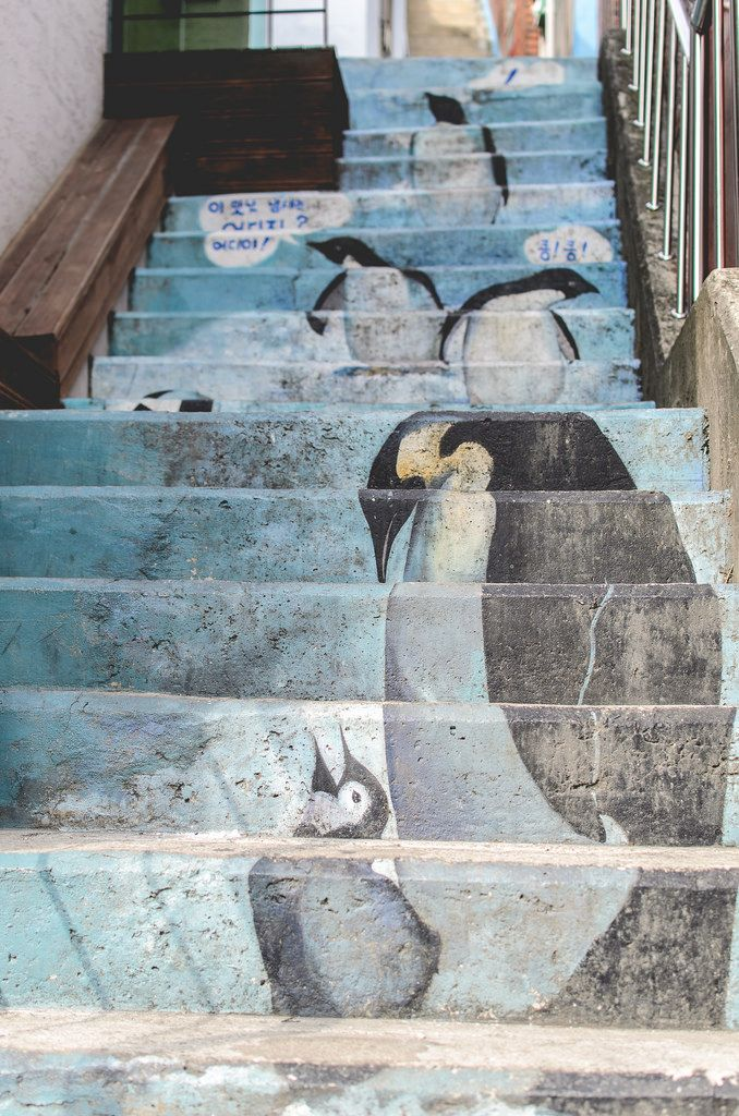 Penguin stairs at Gamcheon Culture Village, Busan, South Korea.