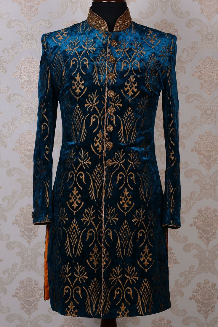 Ink blue & gold pure velvet magnetic indo western sherwani-IW449