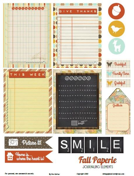 Free Fall Paperie Journaling Cards and Labels from Vintage Glam Studio