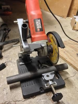The Klutch® Grinder Holder securely holds your 4 1/2in. or 5in. angle grinder for better control of the cutting wheel, essentially turning your grinder into a mini chop saw for precise cutting of pipe, rebar or tubing.