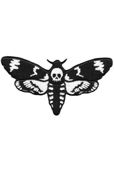 """MOTH. Death's Head. - Embroidered Patch.- Iron-On Back.- 4.5"""""""