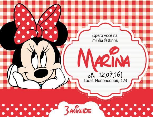 Convite virtual ou digital com o tema Minnie Vermelha, ou vermelho, Disney para chá de bebê, nascimento, batizado, aniversário.    O convite virtual é um arquivo em resolução apenas de tela, por email para ser enviado em redes sociais e whatsapp. arquivo em .jpg