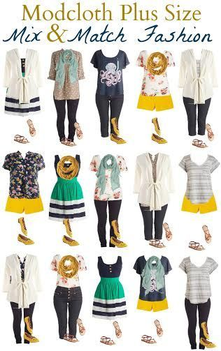 ModCloth plus size fashion- stylish plus size clothing-mix and match fashion boards for plus sizes-vacation packing mix and match outfits-ModCloth Plus Size