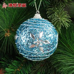 Discount Luxury Christmas Ornaments Wholesale-Christmas tree bundle accessories 8cm blue luxury quality foam ball Supplies hanging new year santa claus cristmas natal