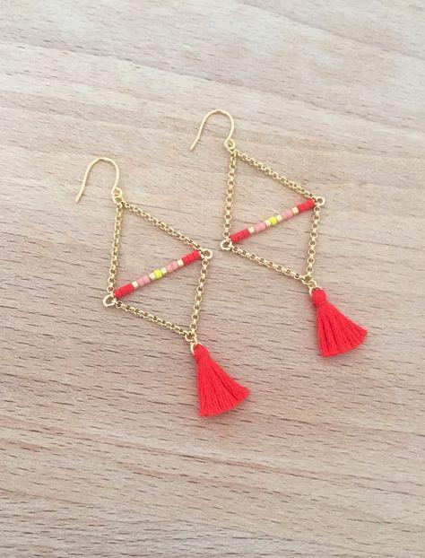 Boucles d'Oreille Corail Triangle Plaqué Or