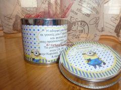 #ΒΑΠΤΙΣΗ ⁞ Μεταλλικό κουτί πρόσκληση-μπομπονιέρα.. mini minions !
