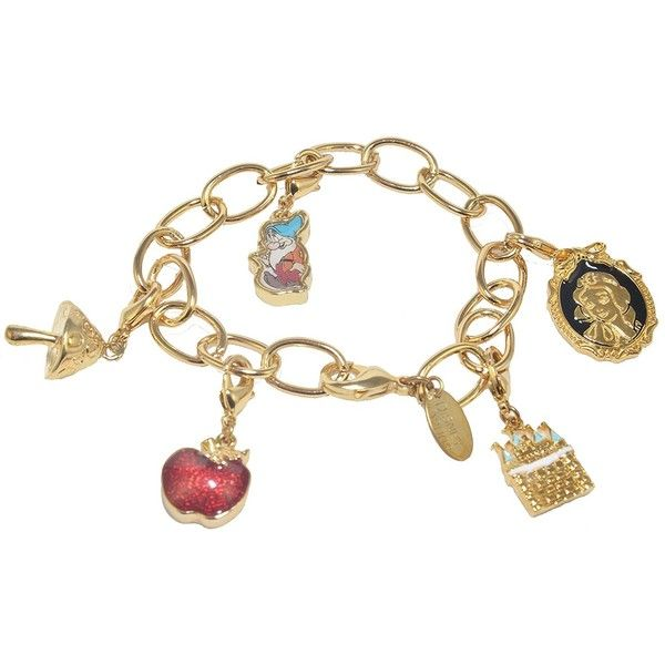 Disney Couture Snow White Charm Bracelet (£54) ❤ liked on Polyvore featuring jewelry, bracelets, disney couture, charm bracelet, disney couture jewelry and wide bangle
