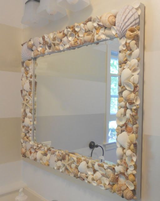 There is a huge mirror in our master bathroom...maybe I could tediously glue sea shells all around it. NOT! :p