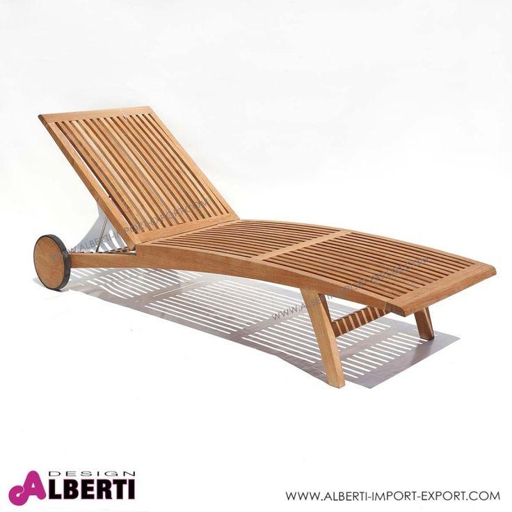 Lettino Estillo in teak 200x60xh36 cm Lettino in teak di design dalla linea minimalista, con schienale reclinabile a più posizioni e ruote grandi per gli spostamenti.