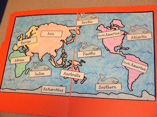Free continents and oceans file folder activity, plus lots of pics and links to…