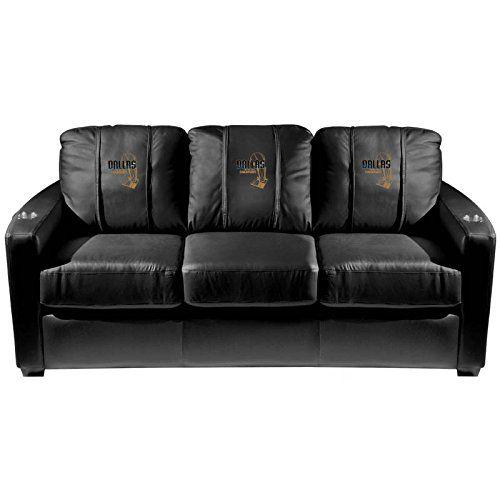 XZipit NBA Silver Sofa with Dallas Mavericks Champs 2011 Logo Panel, Black