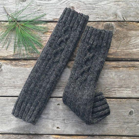 Jambières guêtres laine gris foncé femme laine par MaillesparMyriam