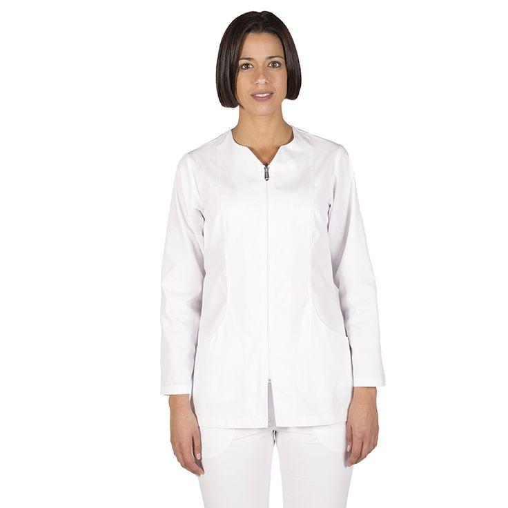 6236 blusa mujer con cremallera y manga larga en color blanco