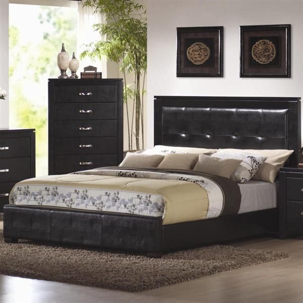 Coaster Dylan Queen Bed With Black Upholstered High Headboard