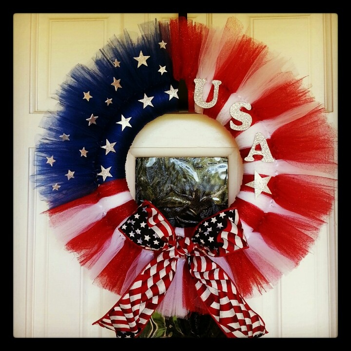 My 4th of July wreath made out of tulle :)