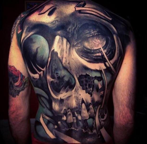 back horror tattoo motive tattoo tattooed tattoos. Black Bedroom Furniture Sets. Home Design Ideas