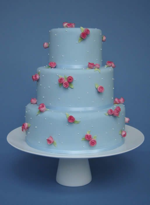 Little Roses wedding cake      Pale blue cake with tiny  handcrafted pink sugar roses  and piped white dots