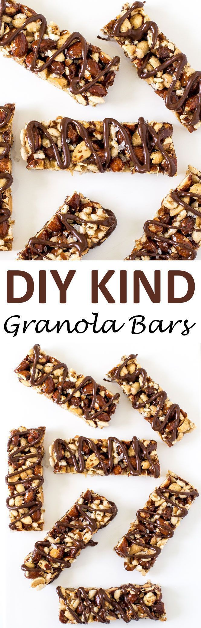 Copycat Kind Granola Bars. Loaded with nuts and drizzled with chocolate and sea…