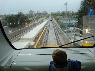 On board the SkyTrain, Vancouver, BC, Canada.