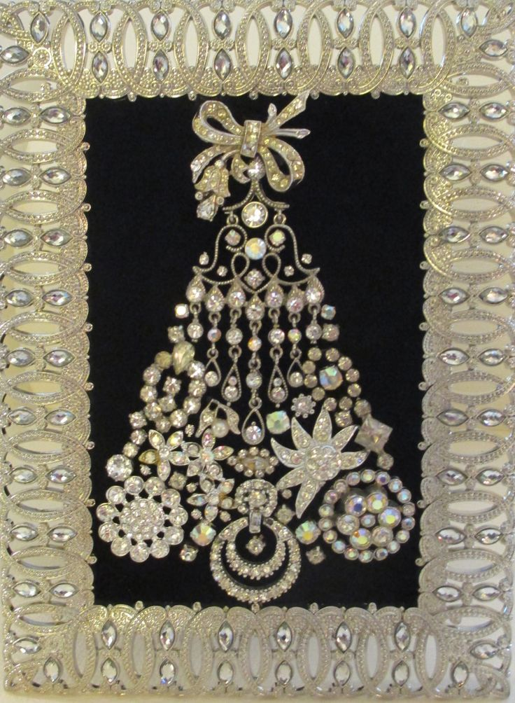 Jeweled Framed Jewelry Christmas Tree Black Velvet Silver Vintage by audreymivey on Etsy