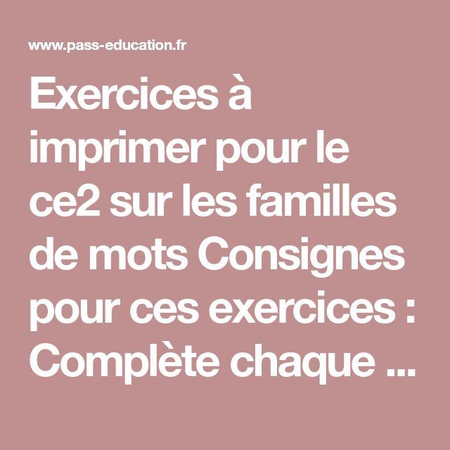 Mots de la même famille - Ce2 - Exercices corrigés en 2020 ...