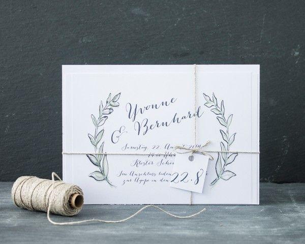 handbemalte Hochzeitseinladung, Olivenzweige, Garn von www.papierhimmel.com