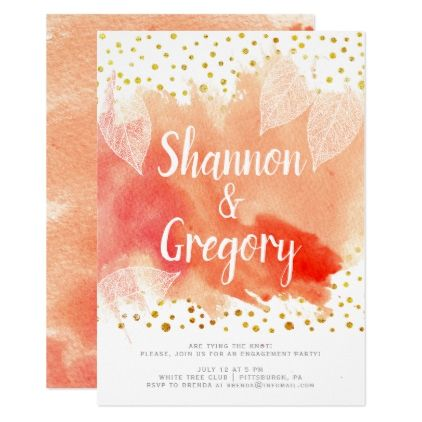 #Watercolor leaves and gold confetti engagement card - #weddinginvitations #wedding #invitations #party #card #cards #invitation #typography